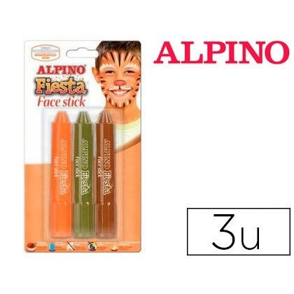 BARRA MAQUILLAJE ALPINO FACE STICK NIÑO 3 COLORES SURTIDOS