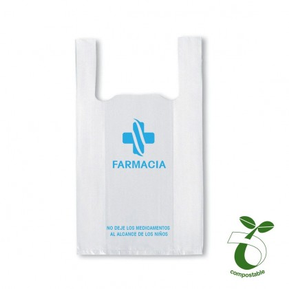 BOLSA CAMISETA PERSONALIZABLE BIODEGRADABLE 25X30